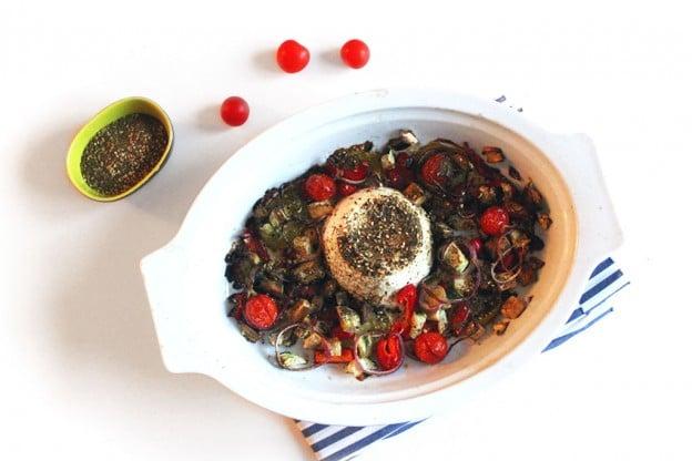 Ricotta rôtie aux légumes confits et zaatar